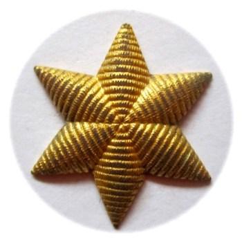 1830-40'S U.S. DRAGOON's OFFICER STAR INSIGNIA GILDED BRASS EMBROIDERED LOOK SIX POINTED STAR rj silverstein's georgewashingtoninauguralbuttons.com o