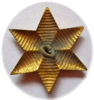 1830-40'S U.S. DRAGOON's OFFICER STAR INSIGNIA GILDED BRASS EMBROIDERED LOOK SIX POINTED STAR rj silverstein's georgewashingtoninauguralbuttons.com r