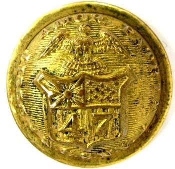 1860's 47th Regiment New York Militia STAFF 23.78mm Gilt Brass 3-Piece Convex Albert NY58 Tice unl. georgewashingtoninauguralbuttons.com o