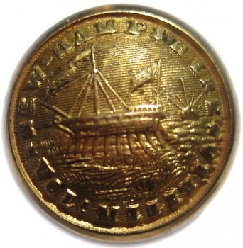 1860's NEW HAMPSHIRE ARTILLERY MILITIA ONE-PIECE 15MM. GILDED BRASS ALBERT NH 6-TICES NH200A.2 GEORGEWASHINGTONINAUGURALBUTTONS.COM O