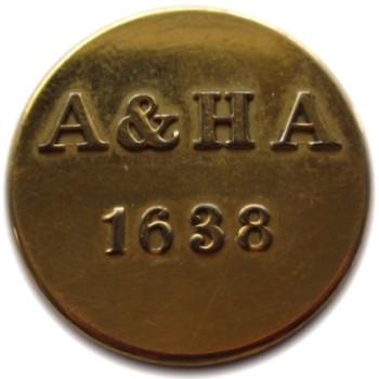 1862 MASSACHUSET1840's Massachusetts 1638 Ancient & Honorable Artillery 25.42mm Brass Non Dug Blank B-M Blank TICE's MS 222A2 - Albert 47 Georgewashingtoninauguralbuttons.com O