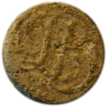 3rd Continental LD excav. Tappan Farm locatiuon of Baylor's Massacre Pewter 7-8 or 1 inch diameter dug by Wayne Daniels Script
