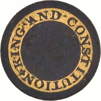 King & Constitution 22mm Gilt Brass Orig Shank HA Auctions $657 6-13 Dug Prince Edward Island Canada RJ Silversteins georgewashingtoninauguralbuttons.com LLTK-15