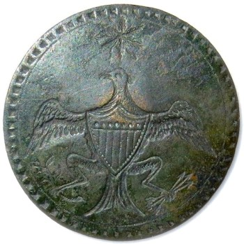 Silvered Copper 63 INDENTS R-2 1789 GW INAUGURAL BUTTON ORIG. SHANK RJ Silverstein's georgewashingtoninauguralbuttons.com O