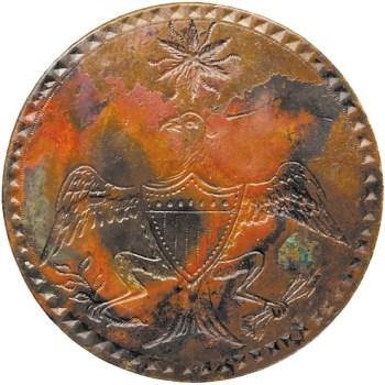 WI 12-C 35MM BRASS NO SHANK, DEEP RED, BLACK&BROWN TONE RJ Silverstein's georgewashingtoninauguralbuttons.com O