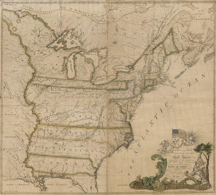1783 Map of America by Abel Buell RJ Silversteins georgewashingtoninauguralbuttons.com O