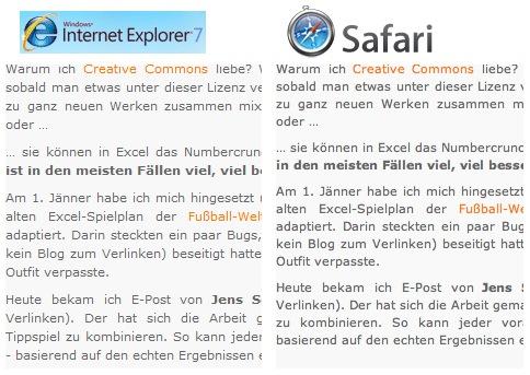Text-Rendering zweier Browser im Vergleich