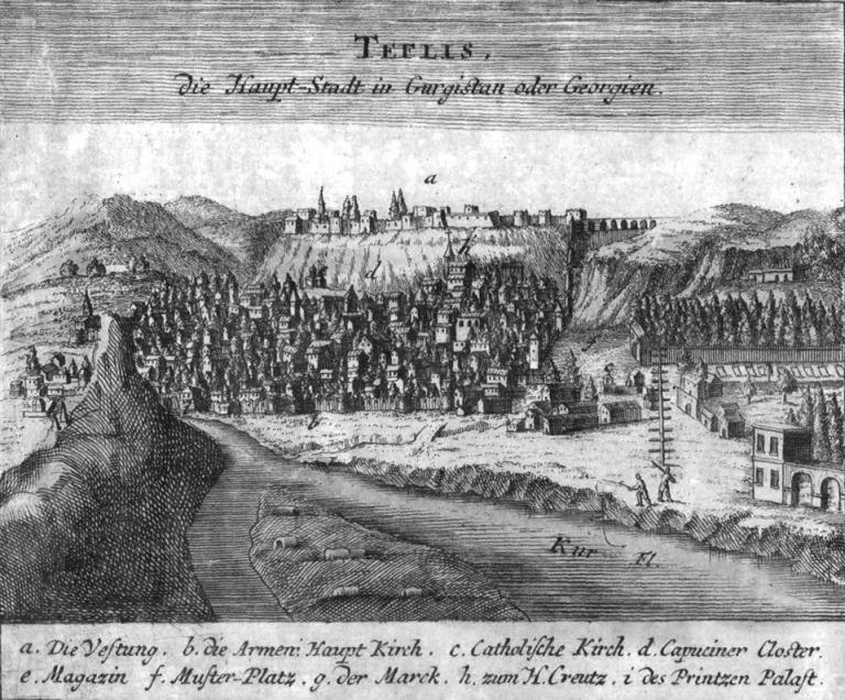 Drawing of Tiflis by Johann Baptist Homann dated 1734