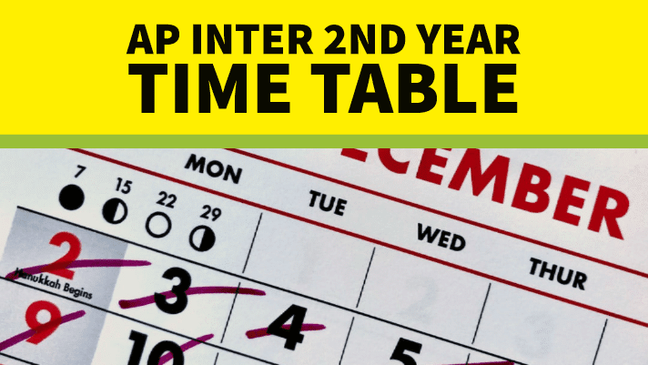 AP Inter 1st year Examinations time table 2020