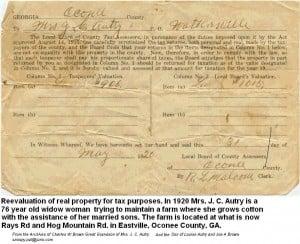 Taxable property of Mrs. J. E. Autry of Watkinsville, GA