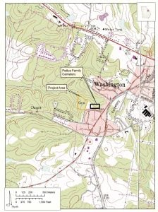 Topographic Map Showing the Location of Old School Cemetery and the Nearby Pettus Cemetery
