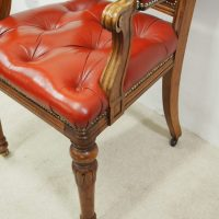 Victorian Walnut and Red Leather Arm Chair