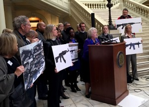 Rep. Mary Margaret Oliver at a press conference in support of her proposed ban on assault weapons.  Photo: Jon Richards