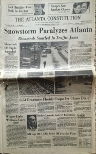 The front page of the January 12, 1982 Atlanta Constitution