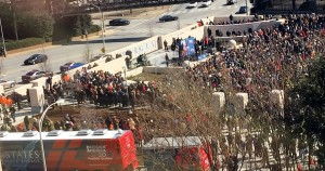 A large crowd gathered at Liberty Plaza this afternoon for Rev. Franklin Graham's Decision America 2016 Rally.  Photo: Jon Richards