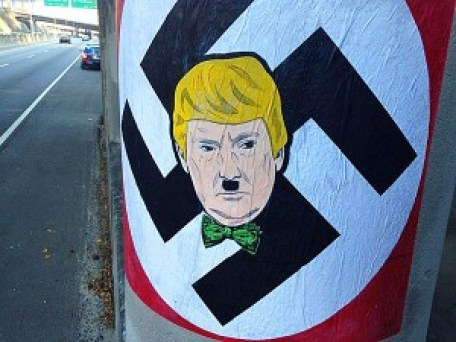 Donald Trump as Hitler in wheatpaste on a bridge column near Brookhaven.