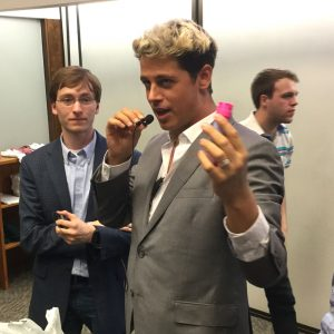 At the end of his talk, Yiannopoulos picked up a bag of chalk, and asked students to follow him outside for a chalkening.