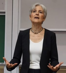 Green Party candidate Jill Stein speaks in Athens. Photo:  Rory Hibbler
