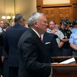 Governor Deal announces is law enforcement reform plan at the State Capitol.  Photo; Jon Richards