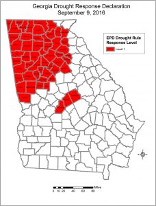 Georgia counties under level 1 drought conditions.