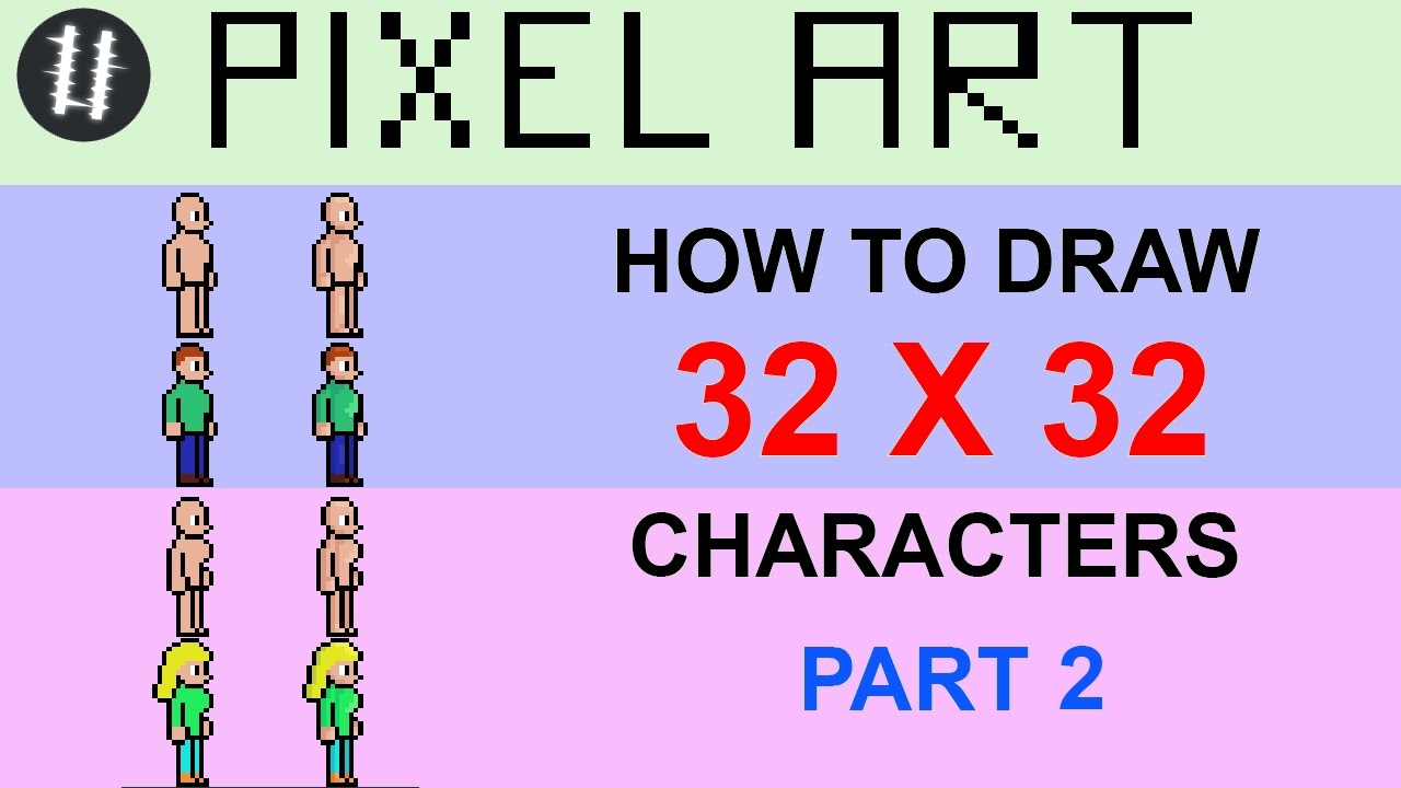 How To Pixel Art Tutorials 14 Draw 32x32 Character Part 2 Creartive Mind