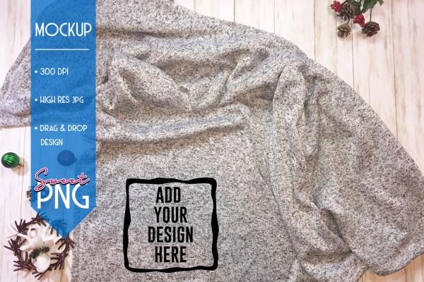 Gray Fleece Blanket Mockup 1