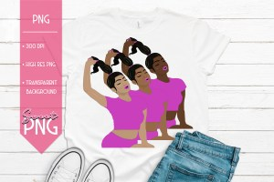 Ponytail Girl Pink Trio Mockup 1500