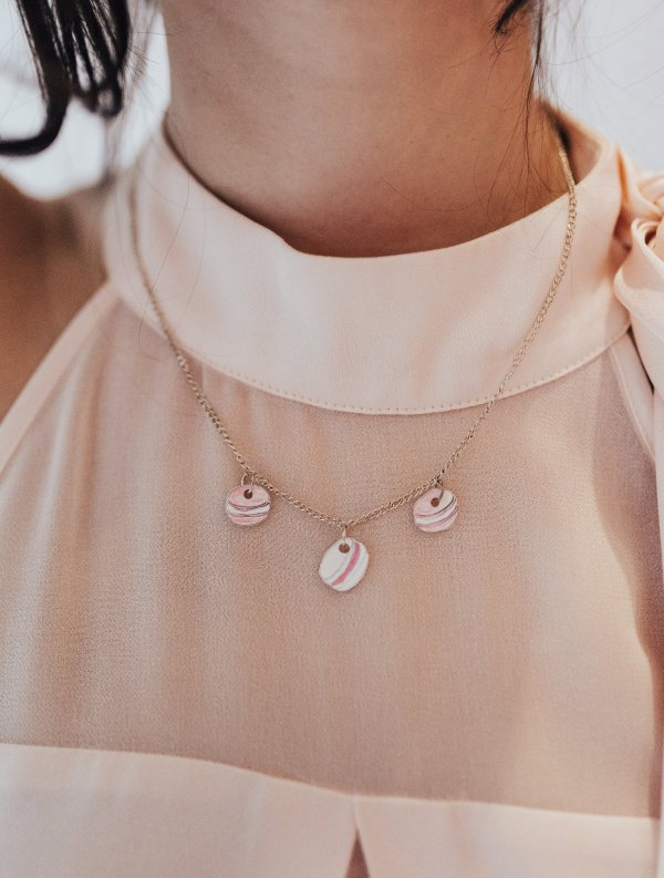 pink macaron necklace