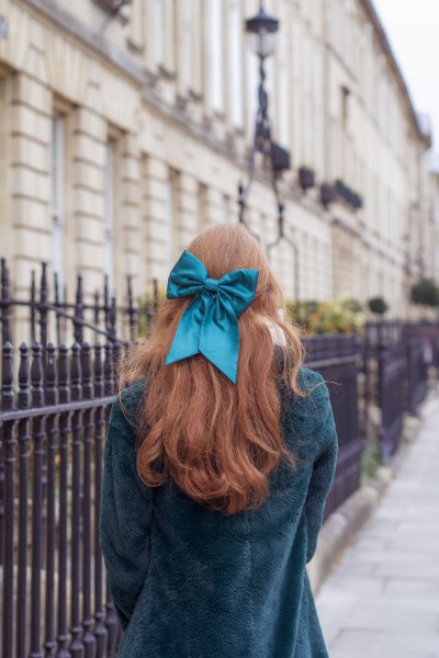 satin hair bow auburn hair