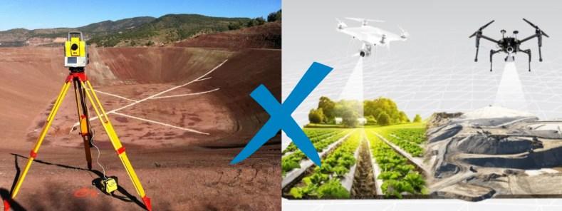 Imagem com equipamento topográfico tradicional (estação total) versus captura de imagens do solo com drones