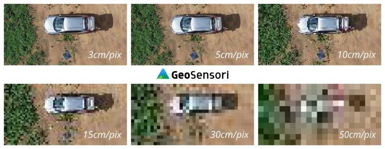 Demonstração da mesma imagem com diferentes GSD/resoluções (cm/pix). Fotogrametria.