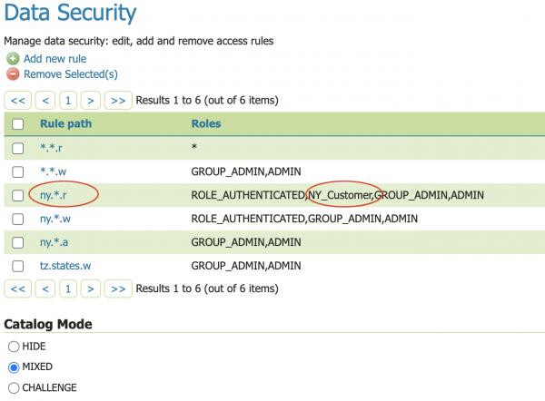 Data security configuration