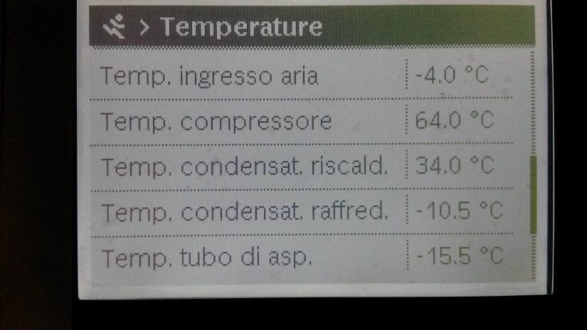 IVT AirX display con alcuni dati rilevati durante il funzionamento sottozero a -4°C