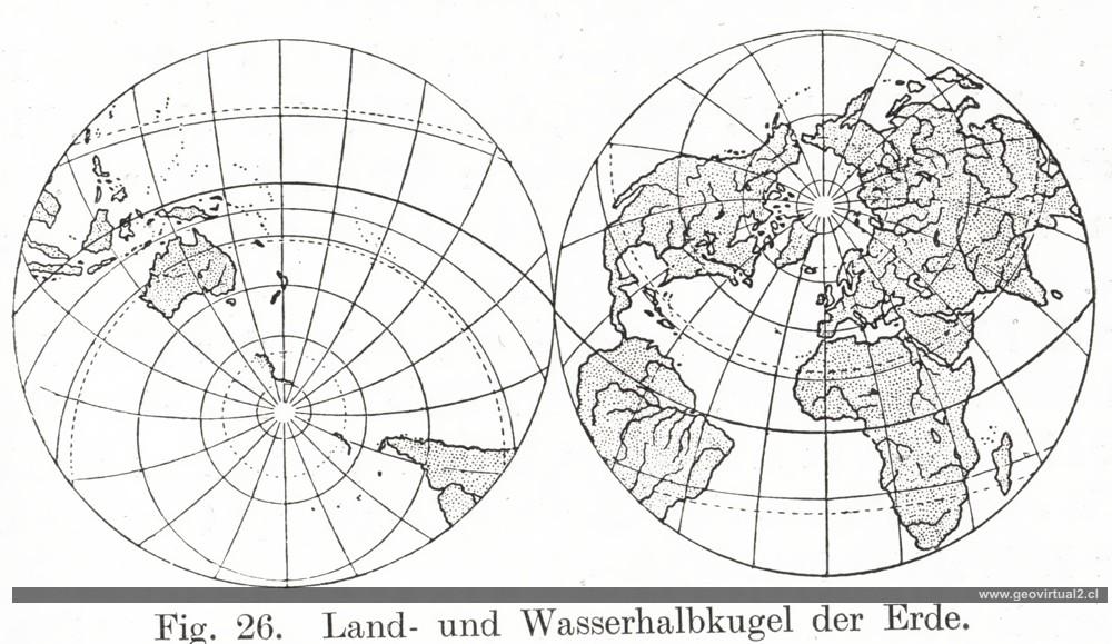 Hemisferio del océano y continental (Kayser, 1912)
