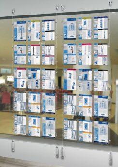 Espositore A Parete Attrezzata Con Tasche Porta Depliants In Plexiglas