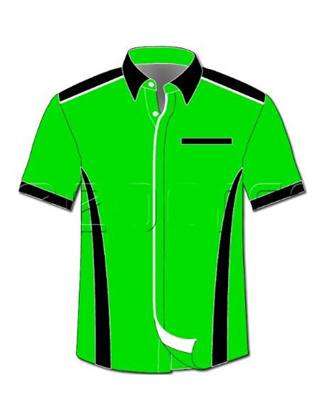 desain kemeja hijau pendek