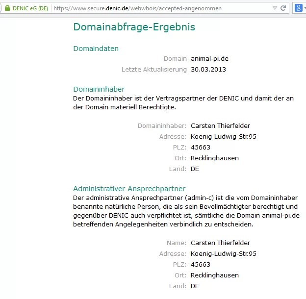 DENIC Abfrage www.animal-pi.de