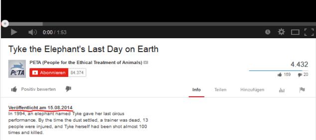 Screenshoot YouTube Channel PeTA USA