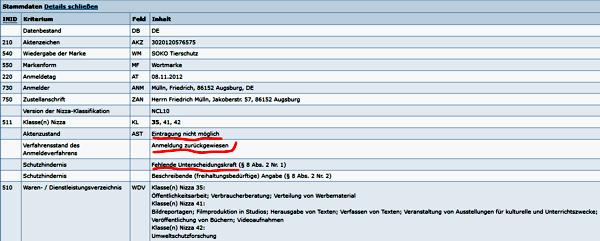 """Abgelehnter Markenschutzantrag für die Wortmarke """"Soko Tierschutz"""""""