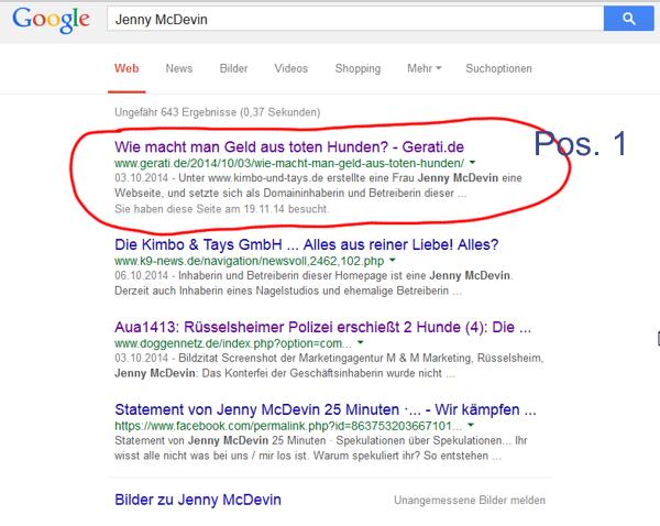 Dieses Suchergebnis ist Jenny McDevin ein Dorn im Auge