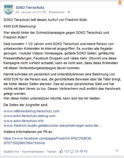 Auslobung von 4.500 € zur Ergreifung des Täters durch SOKO Tierschutz e.V.