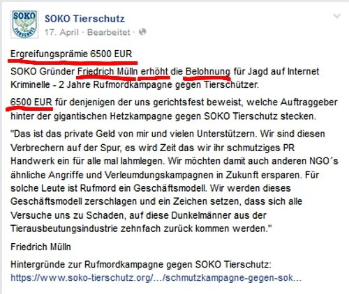 Screenshot Facbook SOKO-Tierschutz / https://www.facebook.com/sokotierschutz.ev?fref=ts