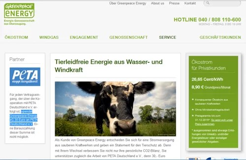 PeTA Landingpage bei www.greenpeace-energy.de / Screenshot der Webseite