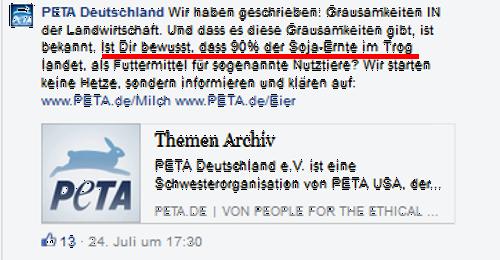 Screenshot PeTA Facebook-Seite 26.07.2015