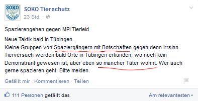 Screenshot Facebook Seite Soko Tierschutz e.V.