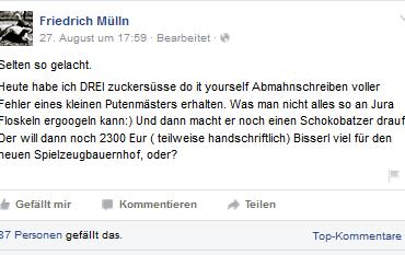 Screenshot Facebook Seite Friedrich Mülln 29.08.2015
