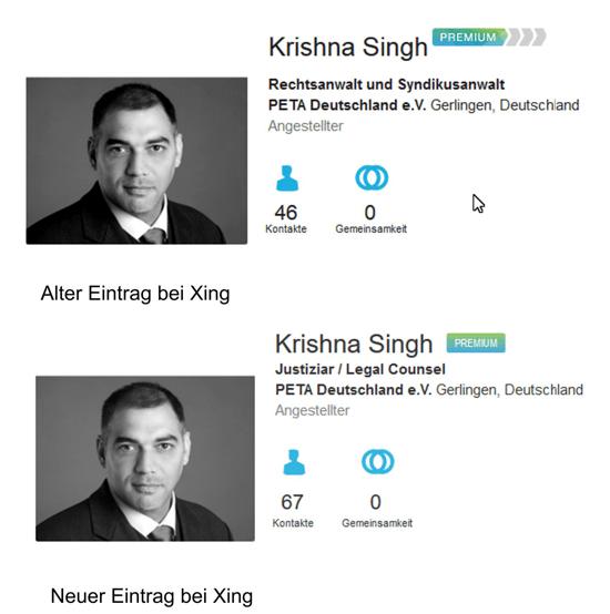 Screenshot alter und neuer Eitrag bei Xing von Krishna Singh