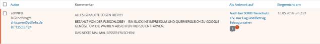 Screenshot: Gerati.de Kommentar vom 18.05.2016