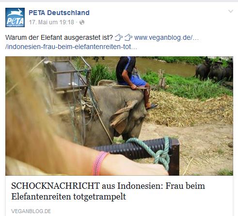 Screenshot: Facebook Seite PeTA
