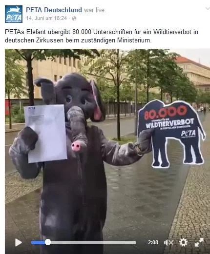 Screenshot PeTA Facebook Video / 16.06.2016